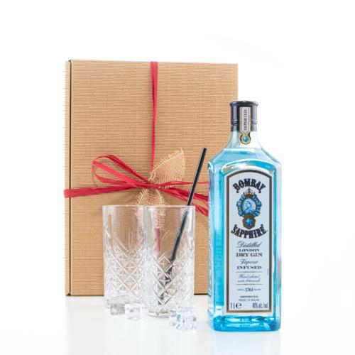 Gin Set, Bombay Saphire, Gin-Gläser, Strohhalme
